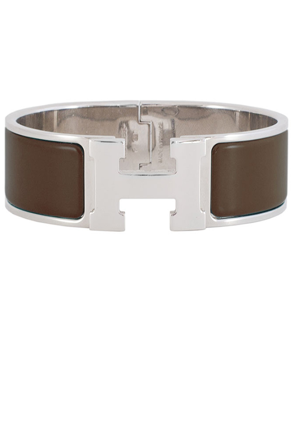 Hermes - Wide Clic Clac H Bracelet (Brown/Palladium Plated) - PM