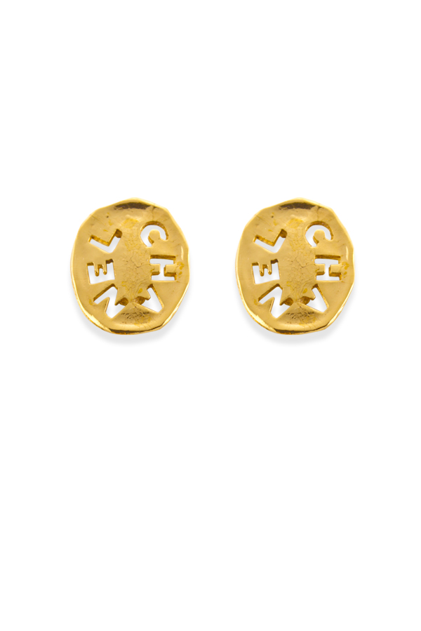 Chanel - Vintage Oval Logo Cut Out Earrings