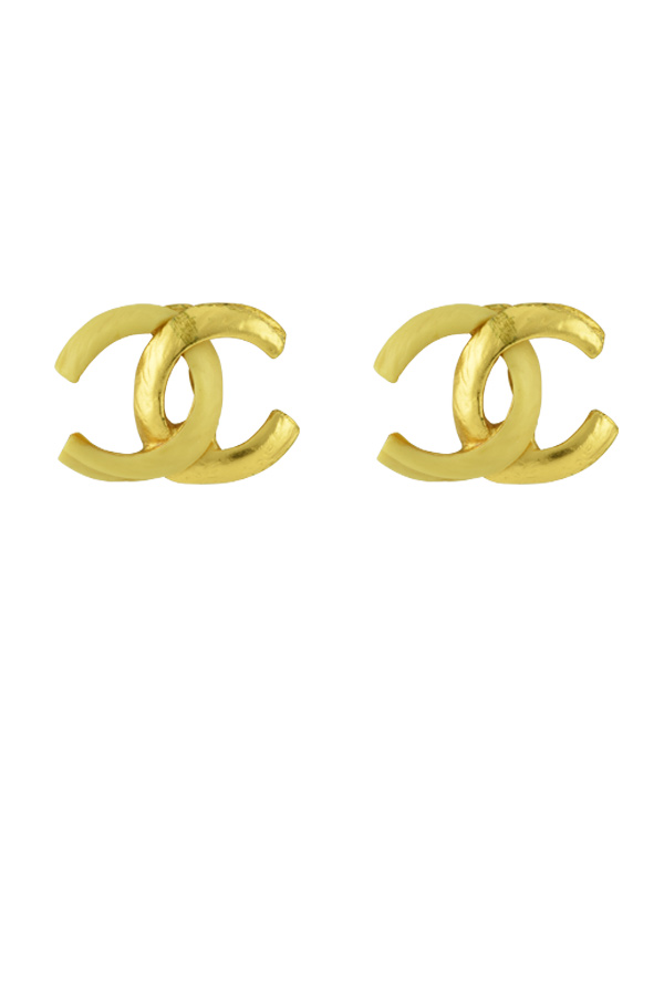 Chanel - CC Logo Gold and Resin Clip On Earrings