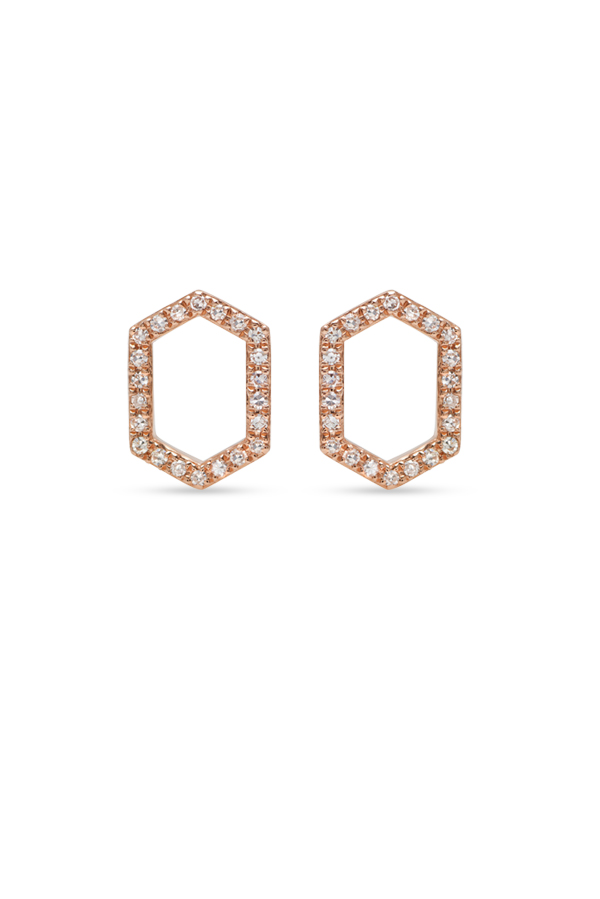 Do Not Disturb - The Athens Studs (14k Rose Gold and Diamonds)
