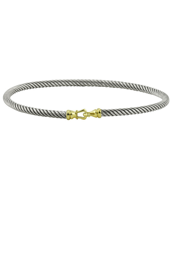 David Yurman - 3 mm Cable Buckle Bracelet With Gold View 1