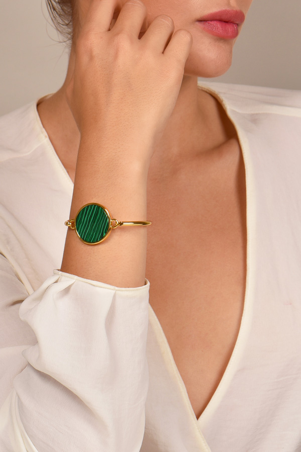 Celine - Gold Coin Bracelet (Green)