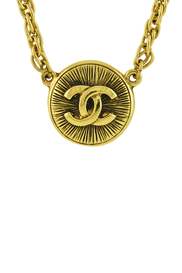 Chanel - Vintage Embossed CC Logo Pendant Necklace