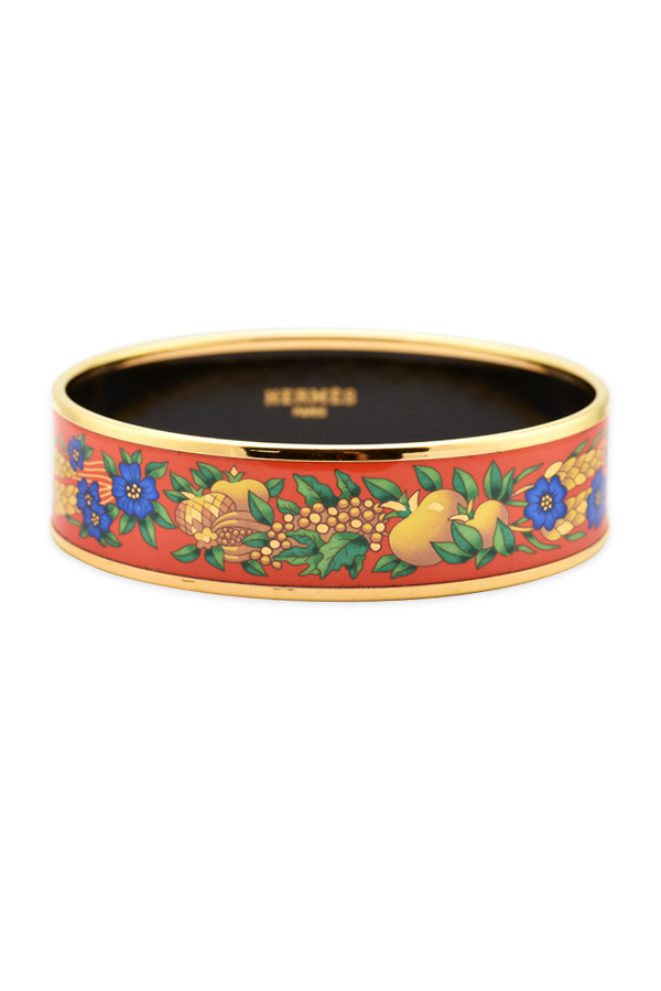 Hermes - Wide Enamel Bangle With Fruit and Flower Print (Gold/Blue/Green)
