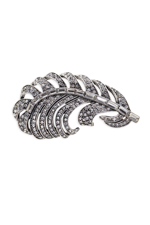 Oscar De La Renta Swarovski Crystal Feather Brooch | Rent Oscar De