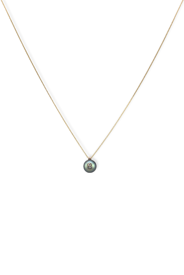 White/Space - Everly Pearl Necklace (Black Tahitian)