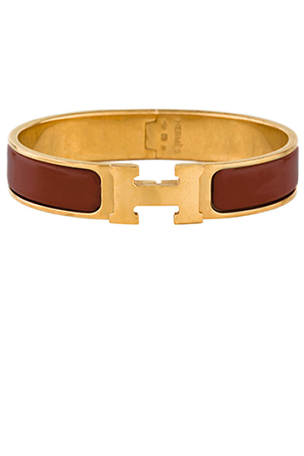 Hermes - Narrow Clic H Bracelet (Burgundy/Yellow Gold Plated) - GM