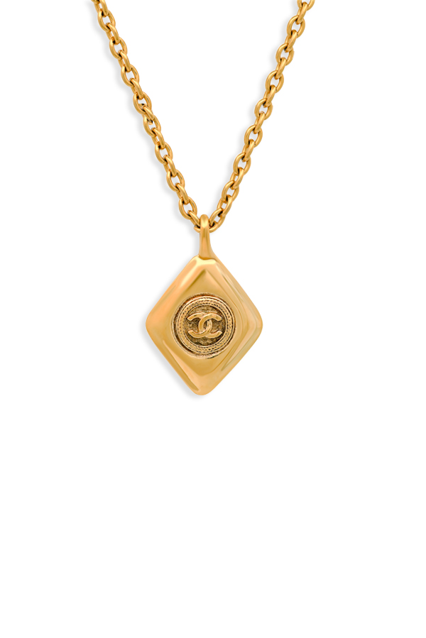 Chanel - Vintage Diamond Shape Charm Logo Short Necklace