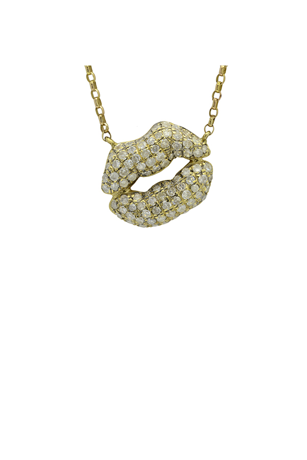 Chains and Pearls - Medium Bliss Kiss Necklace (Yellow Gold)