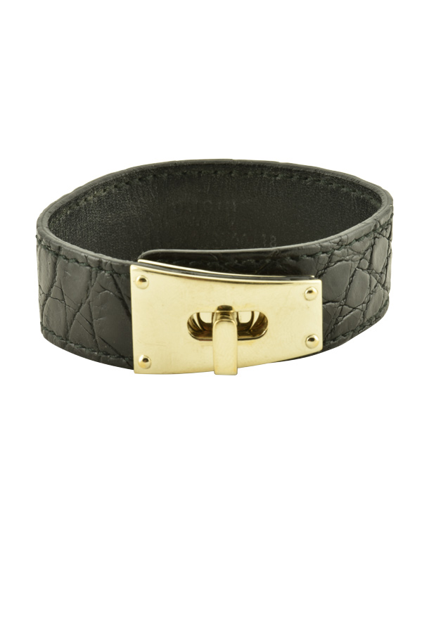 Gucci - Leather Bracelet with Gold Tone Hardware