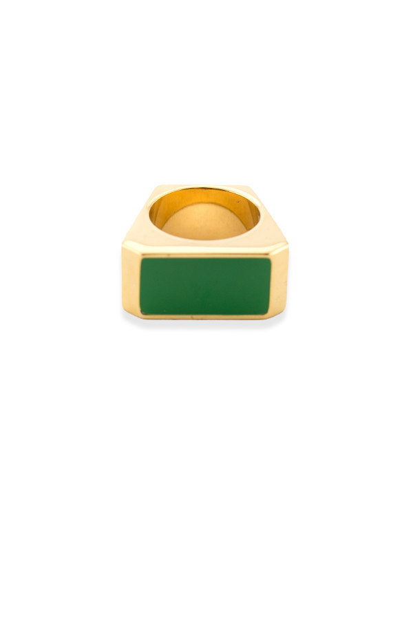 Yves Saint Laurent - Color Block Rectangle Ring (Green) - Size 5