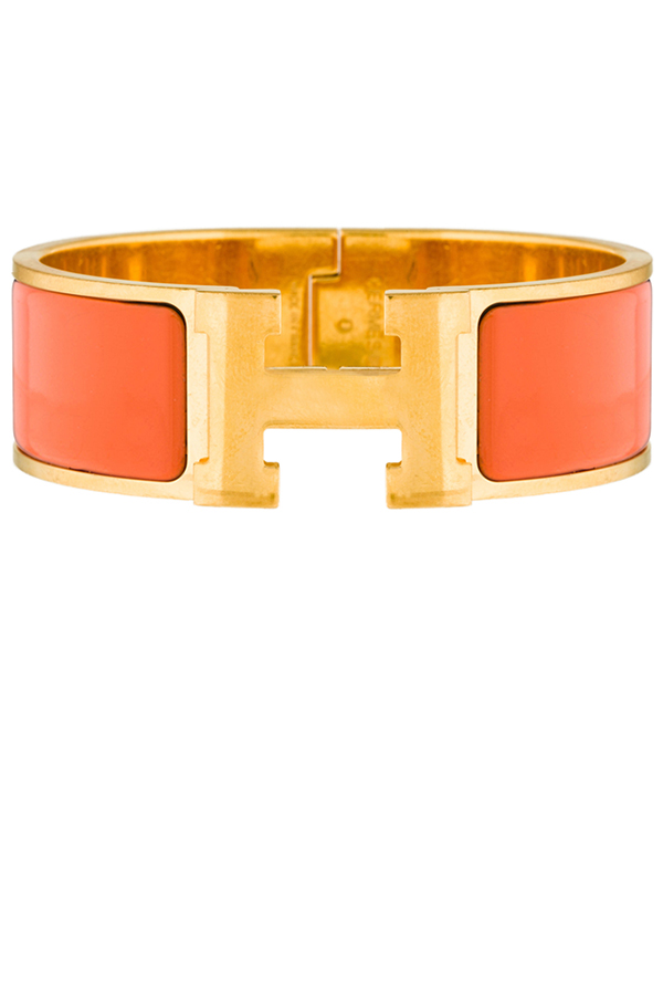 Hermes - Wide Clic Clac H Bracelet (Orange/Yellow Gold Plated) - GM