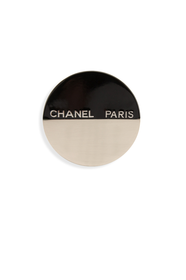 Chanel - Two Tone CC Stamped Brooch Pin