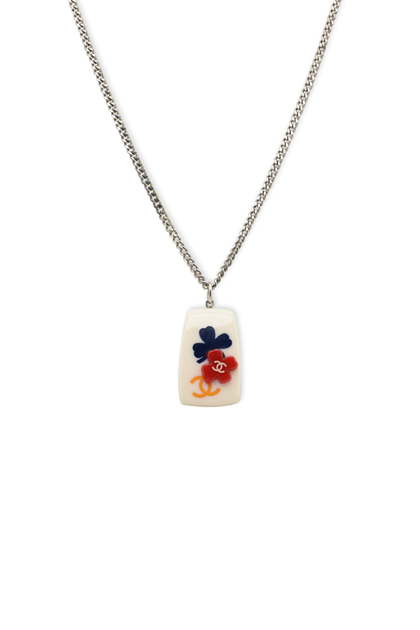 Chanel - Ivory CC Logo Floral Pendant Necklace
