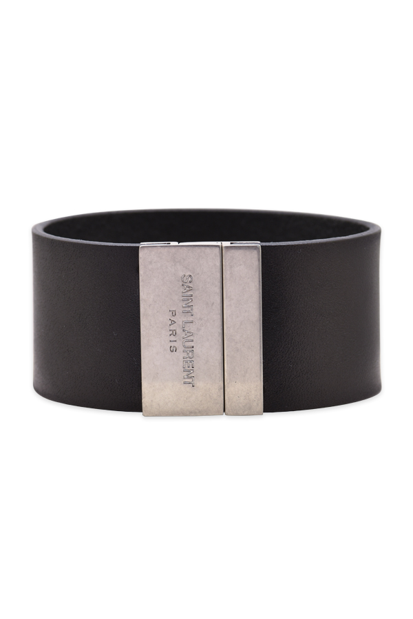 Yves Saint Laurent - YSL Calfskin Leather Cuff Bracelet