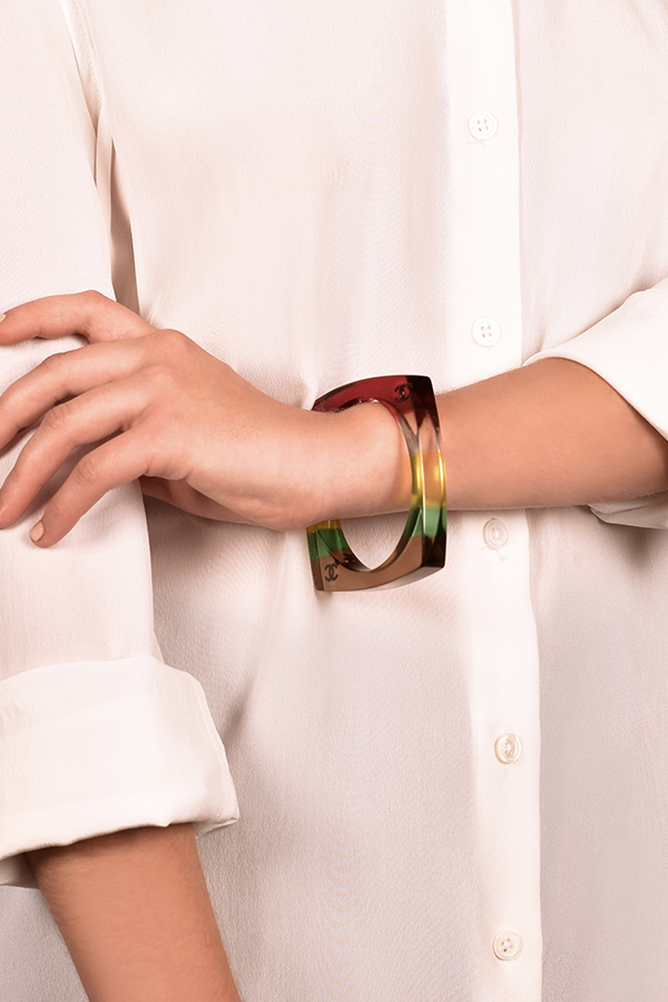 Chanel - Multicolor Rainbow Striped Square Bangle