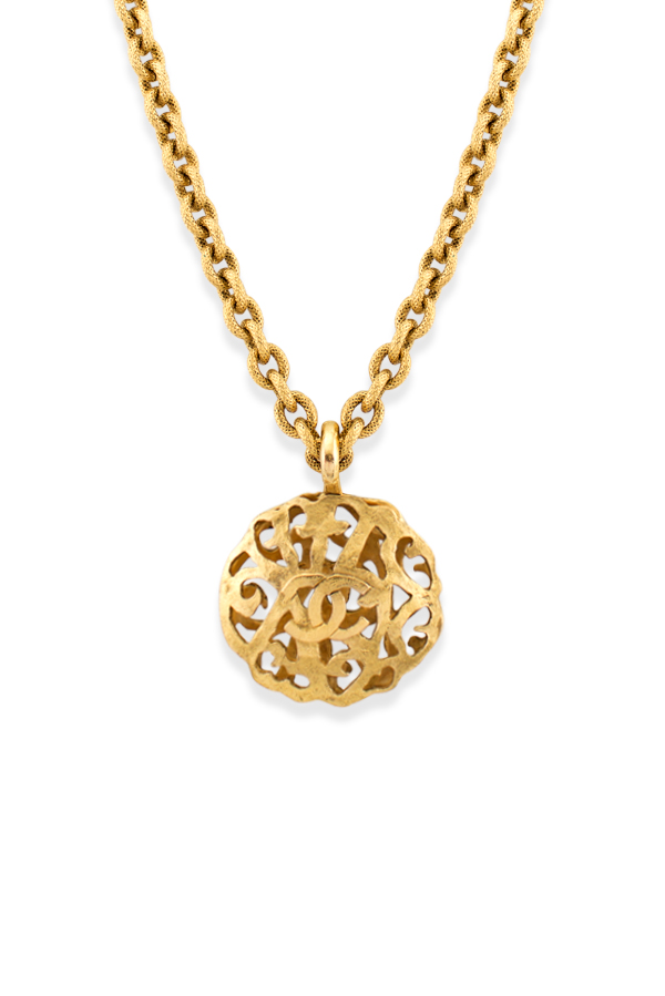 Chanel - Vintage Round Cage Design Cutout CC Logo Pendant Necklace View 1