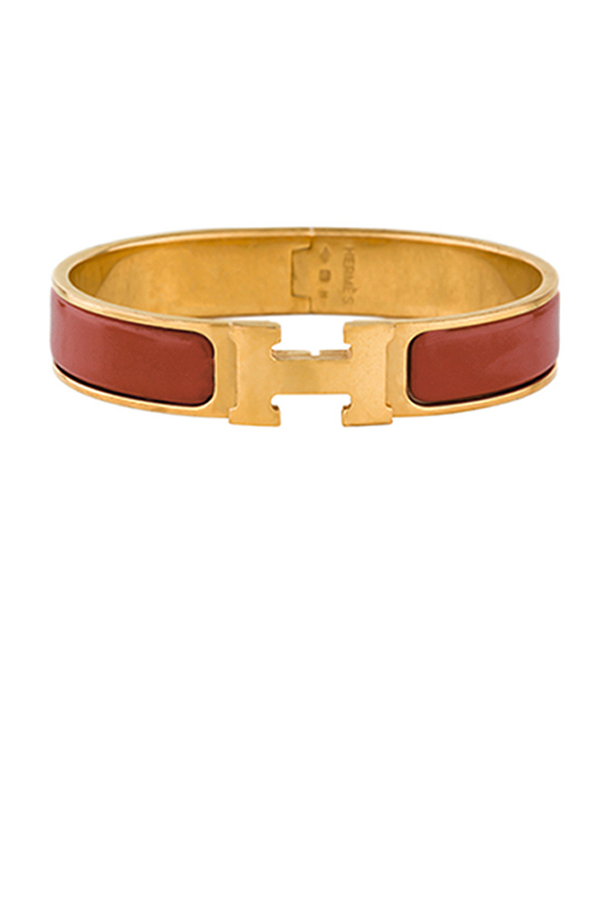 Hermes - Narrow Clic H Bracelet (Dark Orange/Yellow Gold Plated) - PM