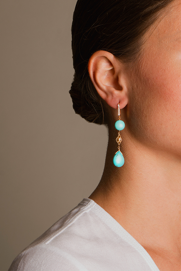 Chains and Pearls - Turquoise Dangler Earrings