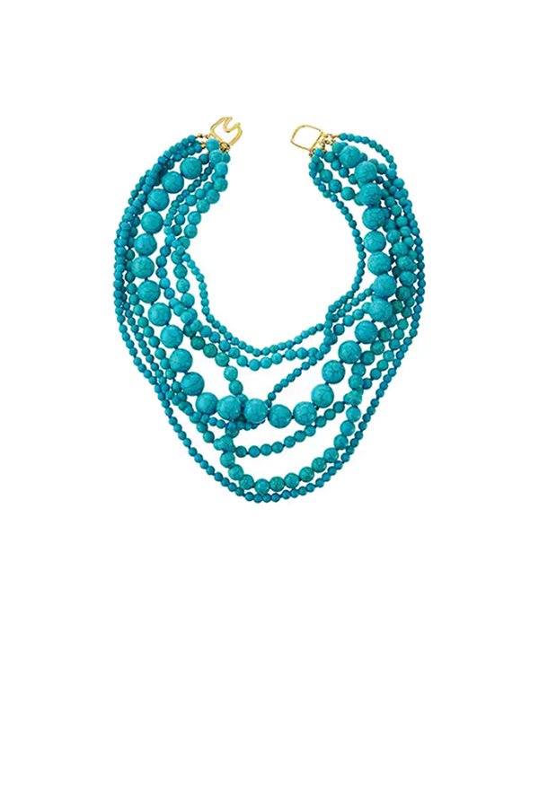 Kenneth Jay Lane - Multi-Strand Beaded Turquoise-Hue Statement Necklace