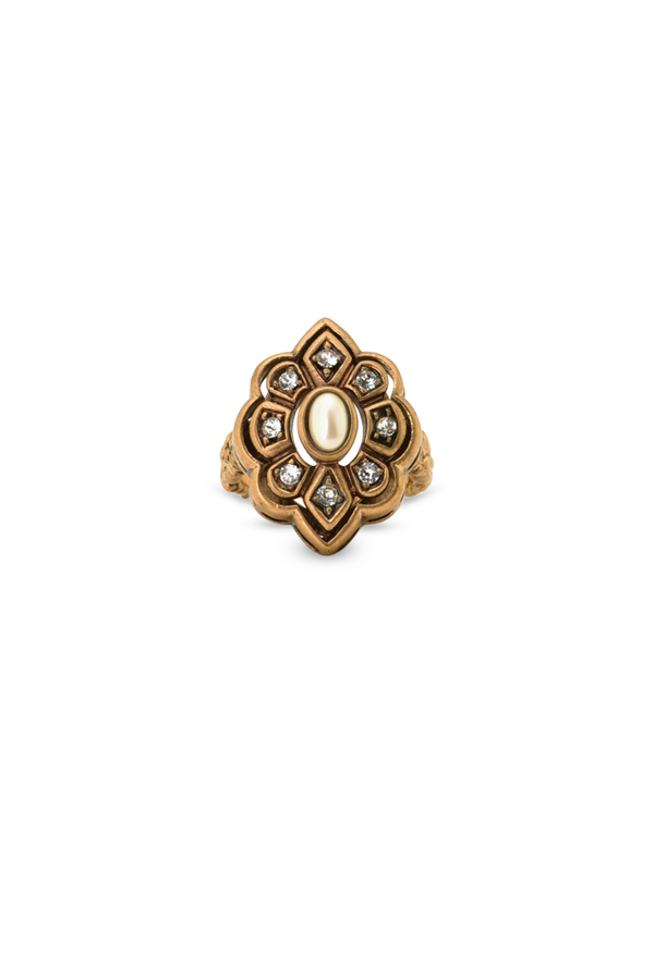 Gucci - Pearl and Crystal Ring - Size 6.5