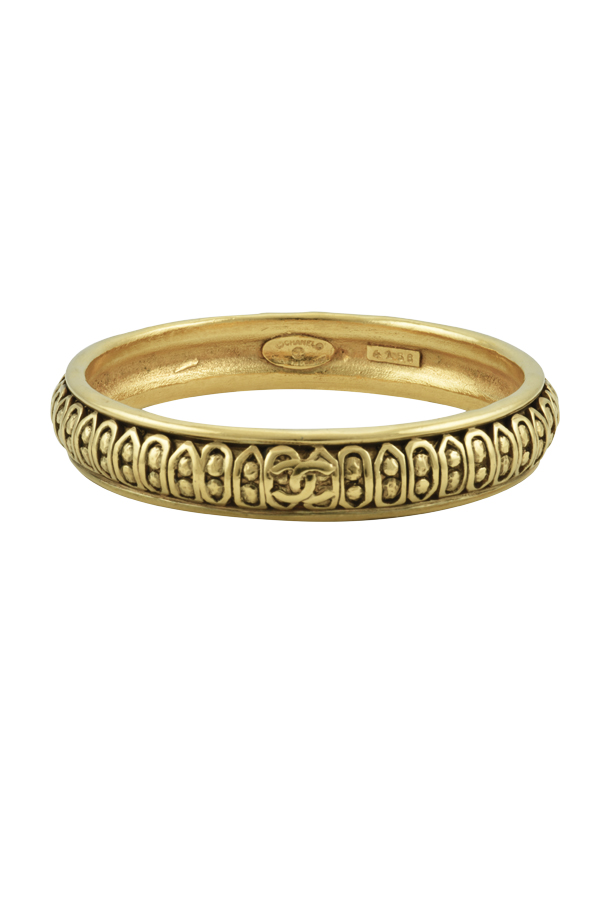 Chanel - Vintage Intricate Gold Tone Metal Bangle
