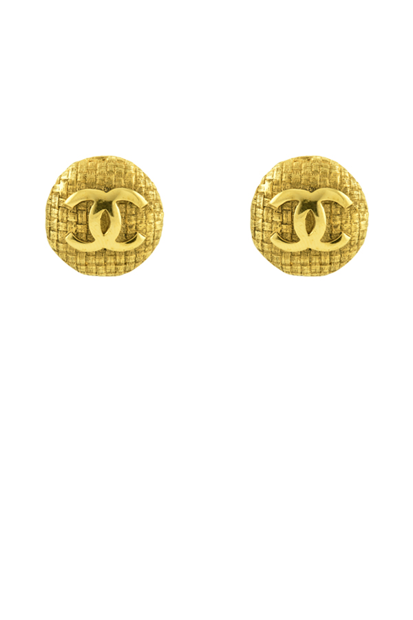 Chanel - CC Checkered Clip-On Earrings