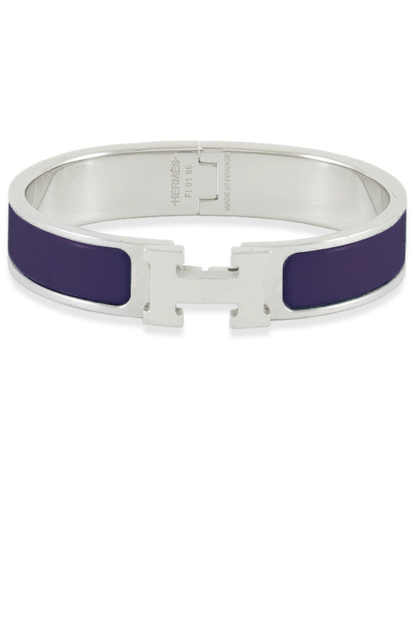 Hermes - Narrow Clic H Bracelet  Eggplant Palladium Plated    PM View 1