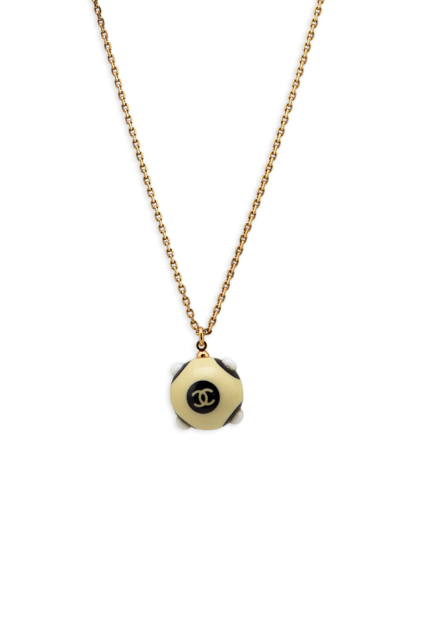 Chanel - Vintage Chanel COCO Mark Ball Necklace (Beige/Black)