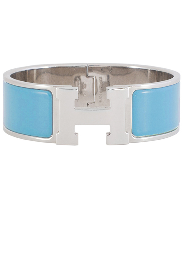 Hermes - Wide Clic Clac H Bracelet  Bright Blue Palladium Plated    PM View 1