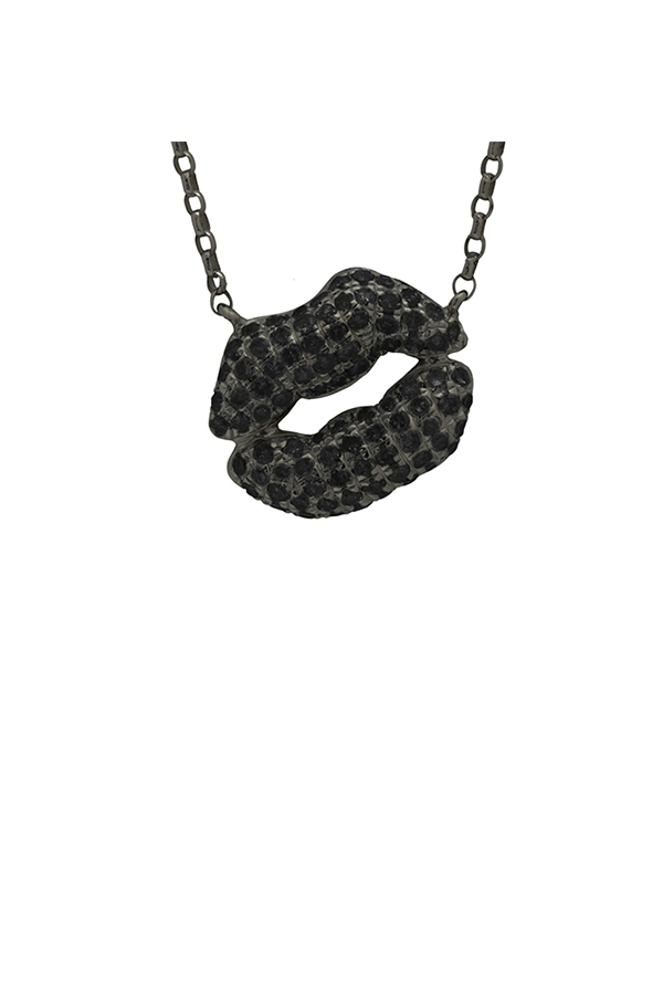 Chains and Pearls - Medium Bliss Kiss Necklace (Black Diamond)