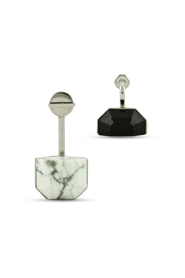 Christian Dior - Set Earrings (Black and White Marble) - Large
