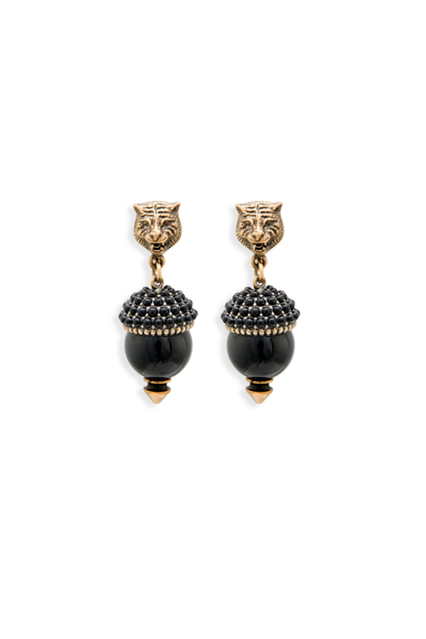 Gucci - Feline Earrings With Resin Pearls - Black