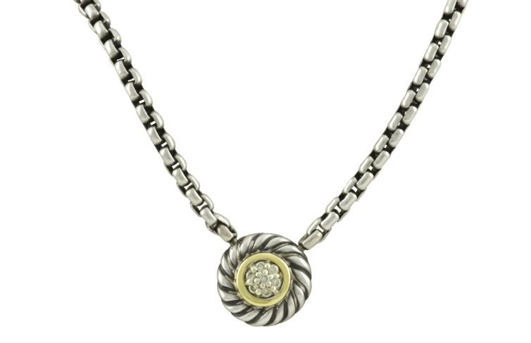 David Yurman - Cookie Necklace with Pave Diamonds