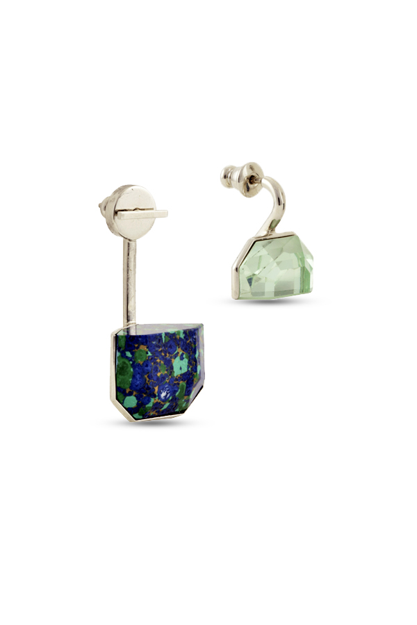 Christian Dior - Set Earrings (Green and Azurite Malachite Stone)