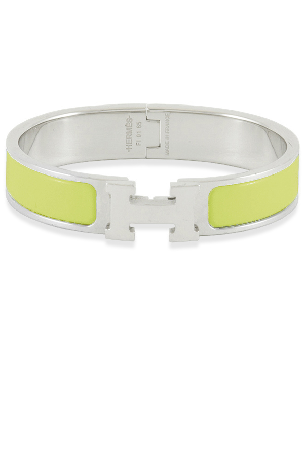 Hermes - Narrow Clic H Bracelet (Jaune Canary/Palladium Plated) - PM