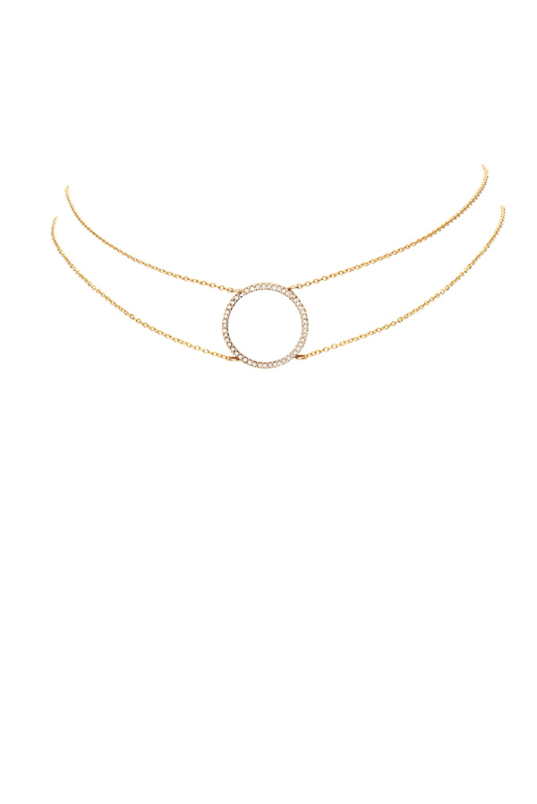 Chains and Pearls - Diamond Circle Pendant Choker