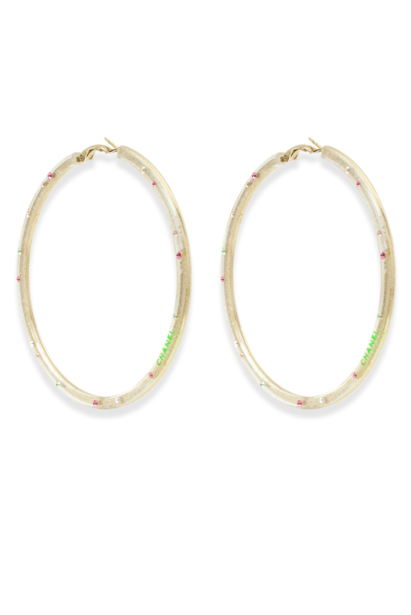 Chanel - Glitter Crystal Lucite Hoop Earrings View 1