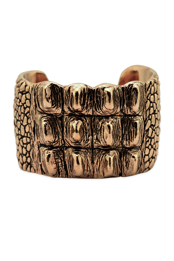 Yves Saint Laurent - Crocodile Textured Statement Cuff