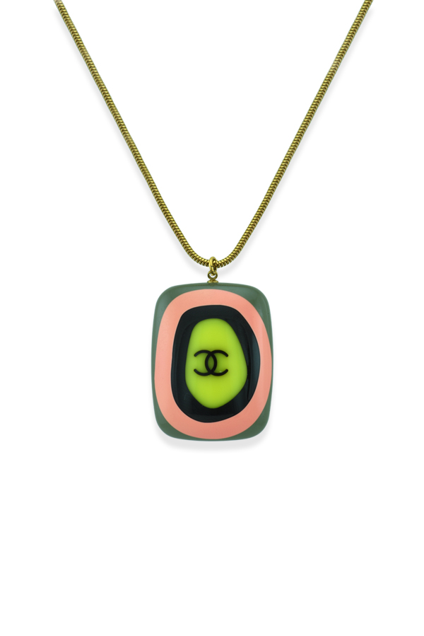Chanel - Vintage Multicolor Square Resin Pendant Necklace
