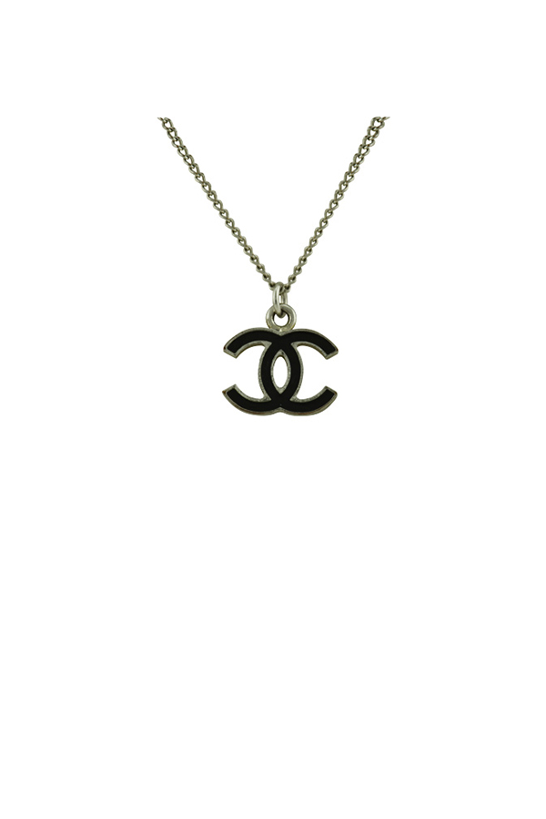 Chanel - CC Black Enamel Pendant Necklace