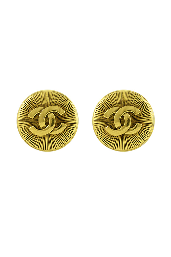 Chanel - Large Embossed CC Clip On Earrings