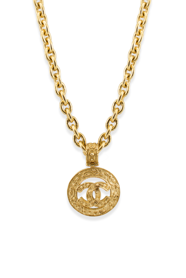 Chanel - Vintage Dotted CC Logo Cutout Pendant Necklace