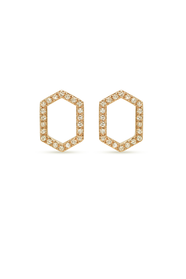 Do Not Disturb - The Athens Studs (14k Yellow Gold and Diamonds)