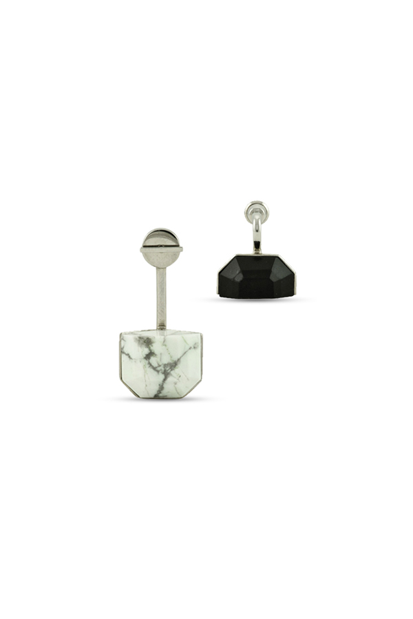 Christian Dior - Howlite Set Earrings (Black and White Marble)