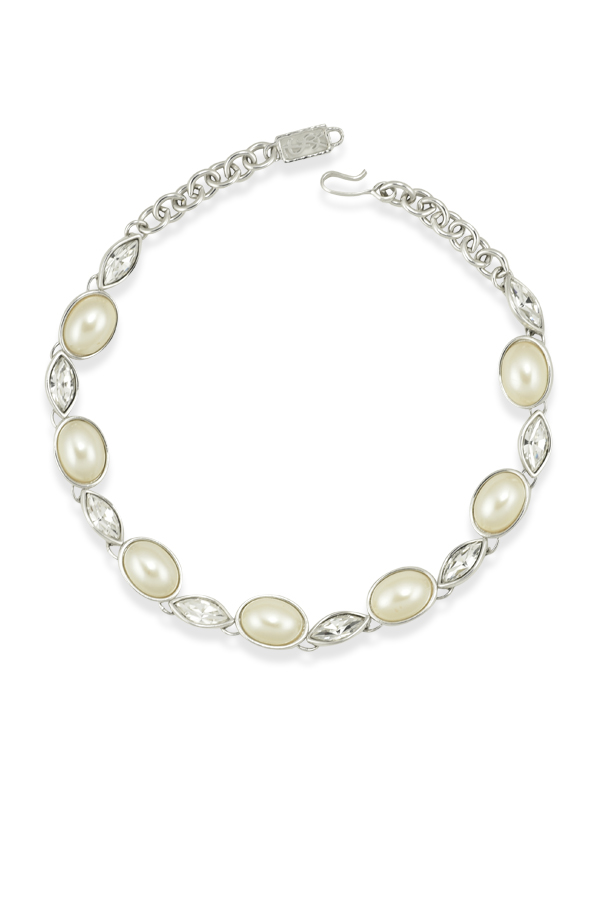 Yves Saint Laurent - Vintage Oval Faux Pearl And Rhinestone Necklace