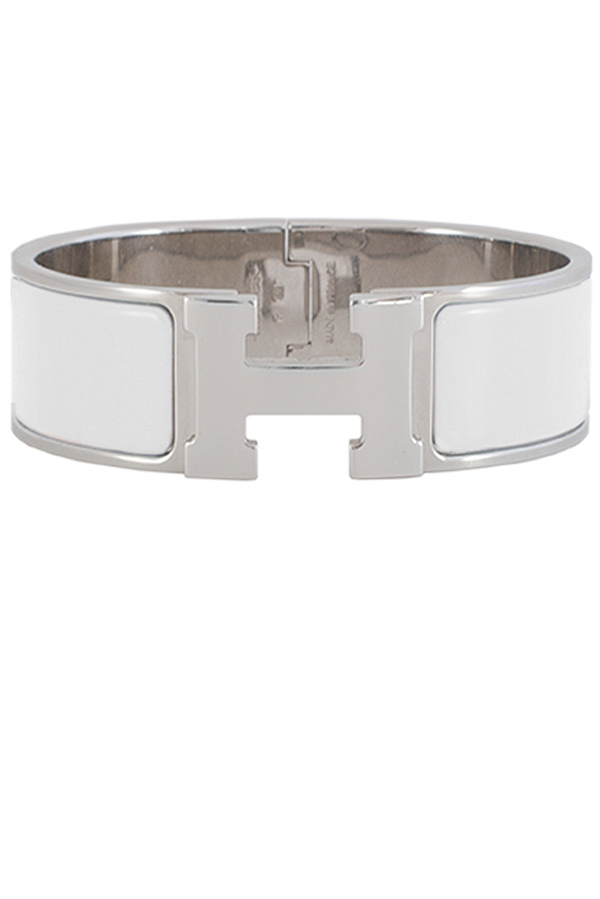Hermes - Wide Clic H Bracelet (White/Palladium Plated) - GM