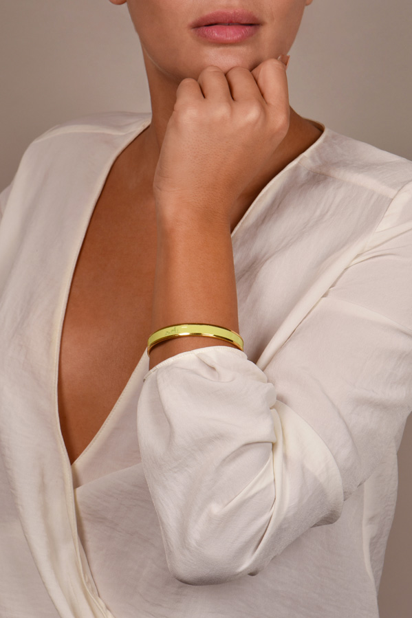 Hermes - Narrow Caleche Bangle (Lime Yellow/Yellow Gold)