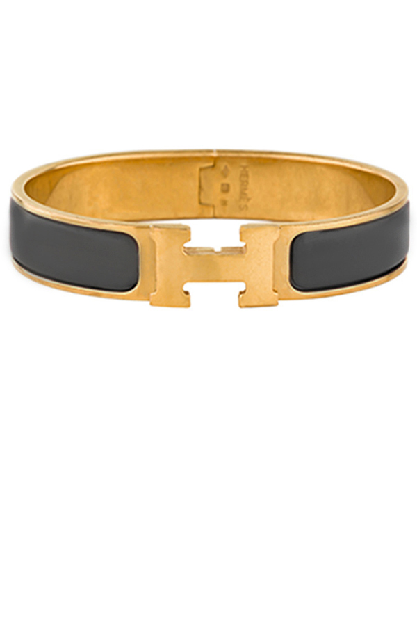 Hermes - Narrow Clic H Bracelet (Gray/Yellow Gold Plated) - GM