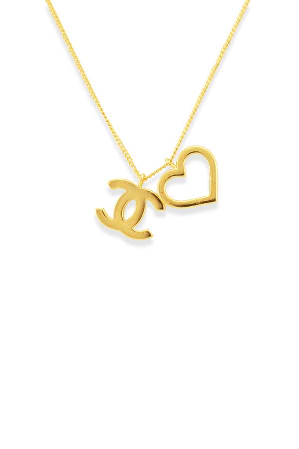 Chanel - CC Open Heart Pendant Necklace  Gold Tone  View 1
